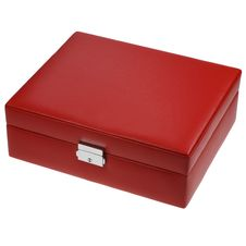 Free Red Leather Box Isolated On White Royalty Free Stock Photo - 19728705