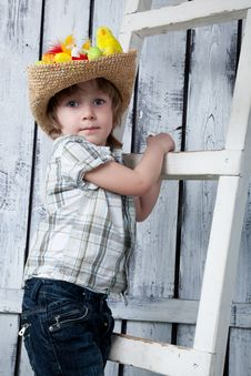 Kid On Ladder Royalty Free Stock Images