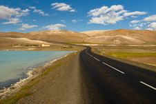 Empty Route - Iceland, Myvatn Area. Royalty Free Stock Photography