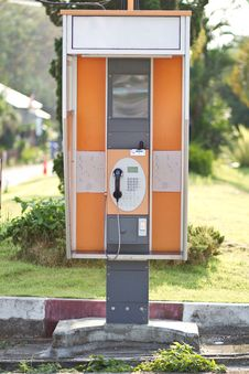 Lonely Orange Public Telephone In Thailand Stock Photos