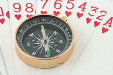 Free Compass On Playing Card Royalty Free Stock Photography - 19732747