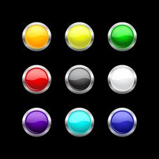 Free Glass Buttons Set For Your Design Royalty Free Stock Photo - 19734355