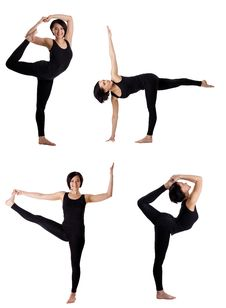 Free Woman Stand In Yoga Dancer Pose Collection Stock Photography - 19734442