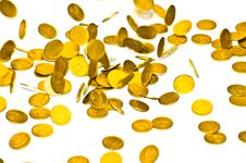 Coins Fall On The Table Royalty Free Stock Photo