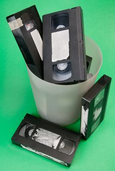 Free Video Tapes In Trash Can With Path Stock Photo - 19735380