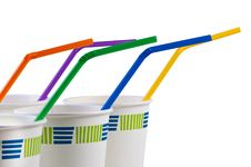 Free Paper Disposable Cups With Colored Tubes. Royalty Free Stock Images - 19735659