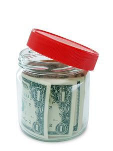 Free Banknote In Opened Jar Royalty Free Stock Photography - 19736617