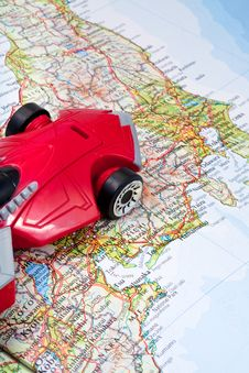 Free Traveling By Car On World Map Stock Images - 19736664