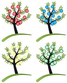 Free Set Of Tree Stylized With Flowers Royalty Free Stock Photos - 19737088