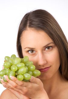Free Young Woman And Fresh Grapes Stock Image - 19737811