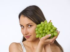 Free Young Woman And Fresh Grapes Royalty Free Stock Photo - 19737815