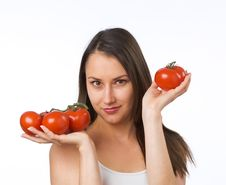 Free Young Woman And Fresh Tomatoes Royalty Free Stock Images - 19737829