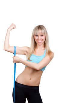 Fitness Woman Measure Muscle Stock Photography