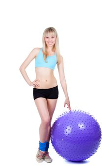 Fitness Woman Ball Stock Photography