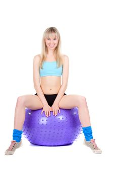Fitness Woman Ball Royalty Free Stock Photography