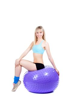 Fitness Woman Ball Stock Photo