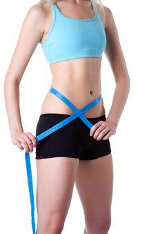 Fitness Woman Measure Stock Image