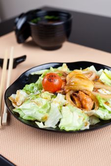 Salad With Seafood In Japanese Style Stock Photography