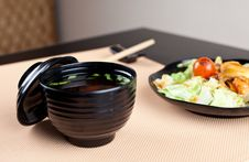 Miso Soup With Spring Onion Royalty Free Stock Photography