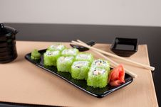 Place Setting With Green Tobiko Roll