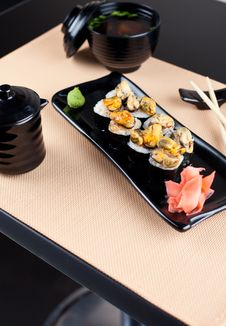 Japanese Table Place Setting With Roll Royalty Free Stock Photography