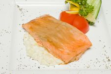 Free Red Trout Steak With Vegetables Stock Photos - 19739363