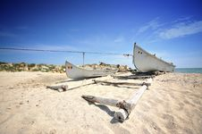 Free Old Fisherman Boat On Sea Shore Royalty Free Stock Image - 19739396