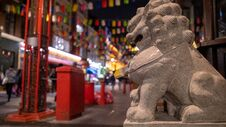 China Town Lion Statue Stock Image