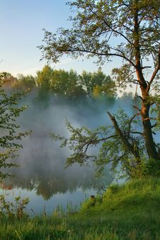 Free Misty Morning On The Lake Royalty Free Stock Photos - 19741448