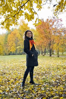 Katy In Autumn Park Royalty Free Stock Photo
