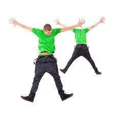 Free Two Male Break Dancers Jumping Royalty Free Stock Photo - 19743135