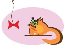 Small Cartoon Cat Royalty Free Stock Images