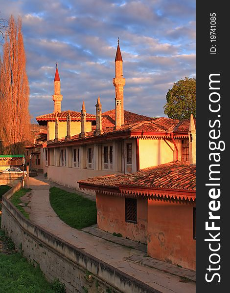 Mosque at the sunset