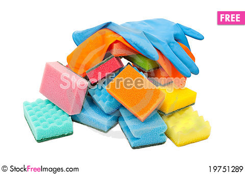Rubber gloves and kitchen sponges Stock Photo