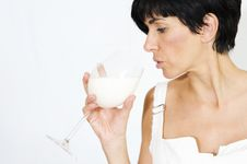 Free White With Girl And Milk Stock Photography - 19750122