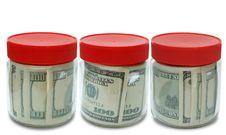 Set Of Banknote In Jar Stock Photo