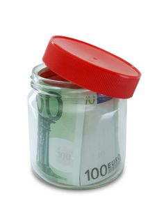Free Money In Opened Jar Royalty Free Stock Photography - 19750157