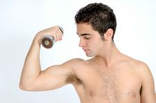 Free Fitness, Young Man Lifting Weights Stock Photos - 19750173