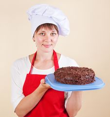 Girl Chef With A Cake Stock Photos