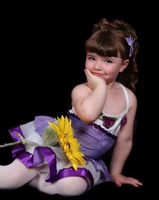 Free Sweet Little Girl In Ballet Outfit Sitting With Stock Images - 19751084