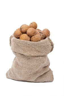 Free Burlap Sack With Walnuts Royalty Free Stock Images - 19751159