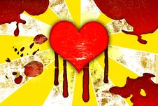 Red Hearts With Drops Of Blood Stock Images