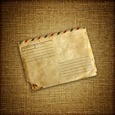 Free Vintage Envelop On Brown Canvas Stock Photos - 19752863