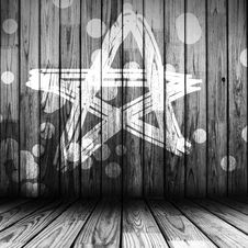 Free Painted Wooden Wall With Star Stock Photos - 19752913