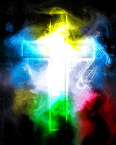Free Cross In Color Smoke Stock Photography - 19753092