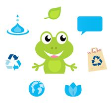 Free Frog Character, Ecology, Nature And Water Icons Royalty Free Stock Images - 19755089
