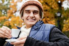 Free Man Cup Coffee Autumn Park Royalty Free Stock Images - 19755369