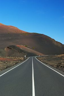 Free Road To Timanfaya National Park Lanzarote Stock Images - 19755514