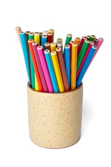 Free Set Of Colored Pencils In A Cup Royalty Free Stock Photos - 19756658