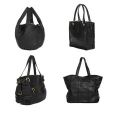 Free Set Of Black Leather Female Bags Royalty Free Stock Images - 19756729